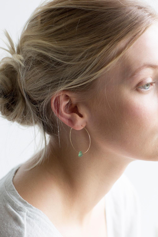 Fine Wire Hoop Earrings With Sea Gl